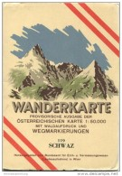 119 Schwaz 1947 - Wanderkarte Mit Umschlag - Provisorische Ausgabe Der Österreichischen Karte 1:50.000 - Herausgegeben V - Mapamundis