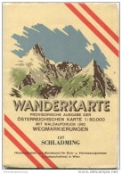 127 Schladming 1950 - Wanderkarte Mit Umschlag - Provisorische Ausgabe Der Österreichischen Karte 1:50.000 - Herausgegeb - Landkarten