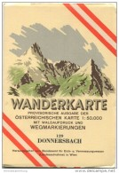 129 Donnersbach 1955 - Wanderkarte Mit Umschlag - Provisorische Ausgabe Der Österreichischen Karte 1:50.000 - Herausgege - Landkarten