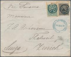 00612 El Salvador: 1881/1882. Lot Of 3 Letters, Each With 1c And 10c Emblem Combination Franking And Cance - El Salvador