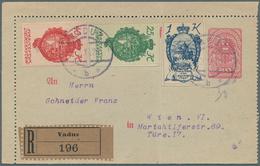 01535 Liechtenstein: 1920 Mitläufer Österreich 25 H.,40 H. + 1 K. Als ZuF Auf 40 H. Ganzsachenkartenbrief - Covers & Documents