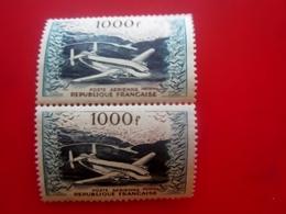 Paire De 2 Timbres N° 33 PA* 1000F Bleu-vert-bleu-noir-trace Rouge Au Verso-France-Poste Aérienne 1954 Neuf * - Airmail