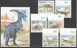 N826 1997,1999 SOMALI CAMBODGE PREHISTORIC ANIMALS DINOSAURS 1BL+1SET MNH - Prehistorics