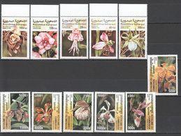 N837 1999,2000 SAHARAUI CAMBODGE FLOWERS ORCHIDS 2SET MNH - Plants