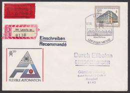 Leipziger Frühjahrsmesse 1989 Eil-R-Brief Leipzig Altes Rathaus DDR U9, Rs. Eing.-St., Handelshof Am Naschmarkt - [6] República Democrática