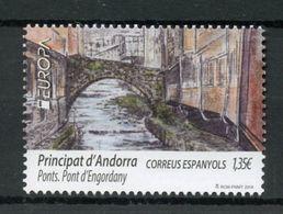 Spanish Andorra 2018 Bridges Europa Bridge Unique Unsuual Thermography Stamp - Ponts