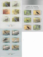 "CANADA - 3 FEUILLES ISSUES DE CARNETS ""OISEAUX DU CANADA - BIRDS OF CANADA"" AUTOCOLLANTS - YT 1637/40+1813/16+1844/47 - Colecciones & Series"