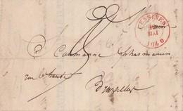 LAC Dc Rge LESSINES 10 Mai 1840 Vers Dc Bleu Bxl (Drogueries Indigènes, Tabacs, Denrées Coloniales Théophile Janssens) - 1830-1849 (Belgique Indépendante)