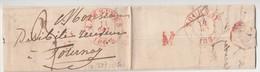 LAC Dc Rge LESSINES 11 Oct 1837 Vers Dc Rge TOURNAY + Marque M - 1830-1849 (Belgique Indépendante)