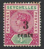 Seychelles, 3 C. On 4 C, 1893, Scott # 22, MH - Seychelles (...-1976)