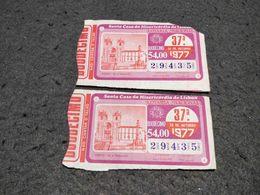 ANTIQUE PORTUGAL X2 LOTTERY TICKETS SANTA CASA DA MISERICORDIA LOTARIA NACIONAL 1977 - Lottery Tickets