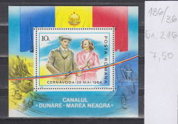 36K136 / 1985 Michel Nr. 216 - Danube - Black Sea Canal Block MNH ** Opening Ceremony Romania - Hojas Bloque