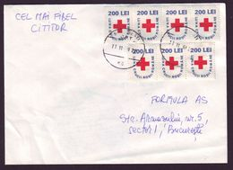 Romanian Red Cross Month X 7 Fiscals On Unusual Cover, Revenue Stamp - Rotes Kreuz