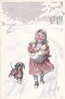 Cpa. CHIEN  DOG Dackel Teckel  Dachshund  Basset Bassotto  Enfant Cat K.Feiertag Old  Postcard 1913 - Chiens