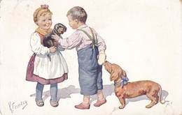 Cpa. CHIEN  DOG Dackel Teckel  Dachshund  Basset Bassotto  Enfant  K.Feiertag Old  Postcard 1929 - Chiens