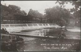 Wood Street Dam, Three Rivers, Michigan, 1957 - Michigan Card Co RPPC - United States