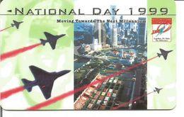 Télécarte De SINGAPOUR - Parade Aérienne Fête Nationale 1999 ( Moving Towards The Next Millenium ) - Armée