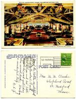 United States 1940 Postcard Canyon Hotel Lounge, Yellowstone National Park - USA National Parks