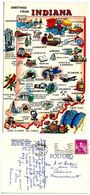 United States 1965 Postcard Greetings From Indiana, Illustrated Map - Maps