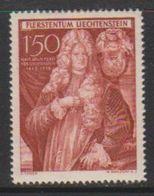 Liechtenstein 1949 250 Jahrfeier Unterland 1.50Fr ** Mnh (round Corner) (39551Q) - Unused Stamps