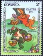 308 Dominica Disney Lievre Tortue Hare Hase Turtle Schildkrote MNH ** Neuf SC (DMN-29a) - Konijnen