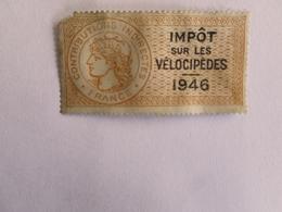 CONTRIBUTIONS INDIRECTES   IMPOT SUR LES VELOCIPEDES  1946 - Fiscaux