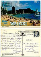 United States 1972 Postcard Aloha From Waikiki - Waikiki Beach, Hawaii - Oahu