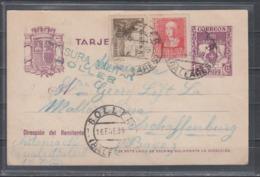 Spanien Ganzsache MiNo. P 94 ZuF In Auslandsverwendung Soller Baleares/16.ENE.39 Nach Deutschland , Zensur-L2 - 1931-50 Cartas