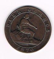 -&  SPANJE  10 CENTIMOS  1870 - Monnaies Provinciales