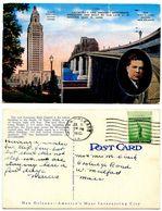 United States 1941 Postcard Louisiana U.S. Senator Huey P. Long's Achievements - Baton Rouge