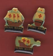 53176-lot De 3 Pin's.Henri Maire à Arbois .vin.boisson.voilier.caravelle... - Beverages