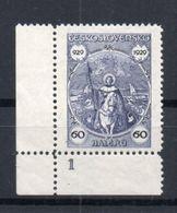 CZECHOSLOVAKIA  1929 , MNH , PLATE NUMBER - Czechoslovakia