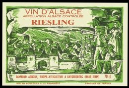 Etiquette Vin D' Alsace RIESLING RAYMOND ARNOUX KAYSERSBERG Signée F.G. ,Super état - Riesling