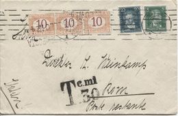 Deutsches Reich Dortmund 1927 To Rome Poste Restante Taxed 30 Ct With Italian Postage Due Scarce 2111 - Germania