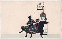 SILHOUETTE SOMBRA SHADOW FEMME WOMAN SINGIN PLAYING MUSIC. CIRCA 1910's- BLEUP - Silhouetkaarten