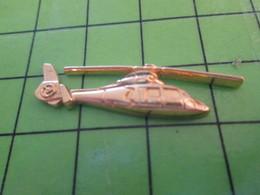 713g Pin's Pins / Beau Et Rare : Thème AVION AVIATION / METAL JAUNE HELICOPTERE  Par PICHARD SAUMUR - Airplanes