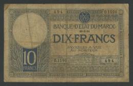(Maroc) 10 Francs 1931 . Rare . - Marocco