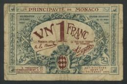 (Monaco) 1 Franc 1920 Série E . Rare . - Mónaco
