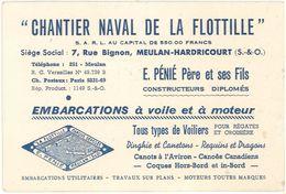 Carte Commerciale Chantier Naval De La Flotille, E. Pénié, Meulan-Hardricourt, Tous Types De Voiliers - Publicité
