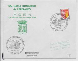 ESPERANTO - FRANCE - 1966 - ENVELOPPE Avec OBLITERATION TEMPORAIRE - Esperanto