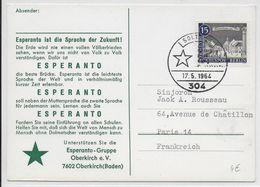 ESPERANTO - ALLEMAGNE - 1964 - CARTE Avec OBLITERATION TEMPORAIRE - Esperanto