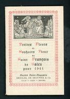 """PETIT ALMANACH """"PETITES FLEURS ET SOUHAITS PIEUX DE St FRANÇOIS DE SALES POUR 1911"""" LIVRET DE 15 FEUILLETS DE 6,5 X 10,2 - Petit Format : 1901-20"""
