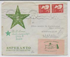 ESPERANTO - SUEDE - 1959 - ENVELOPPE ILLUSTREE De PROPAGANDE Avec VIGNETTES (VOIR AUSSI DOS) - Esperanto