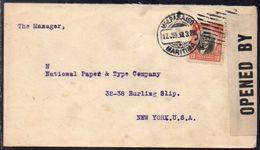 Chile (Valparaiso) To USA (New York), 1918, Stationary, WW I, USA Censor Tape - Chile