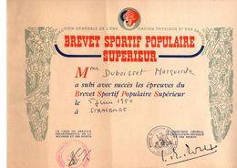 BREVET  SPORTIF   POPULAIRE   SUPERIEUR - Vecchi Documenti