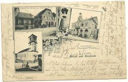 67  Cpa Gruss Aus Dinsheim   Multivues Eglise Restaurant A La Couronne Hopp Animation  Mairie Zug 364 - Andere Gemeenten