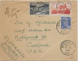 ESPERANTO - FRANCE - 1950 - ENVELOPPE Avec PROPAGANDE MANUSCRITE De RAISMES => HOLLYWOOD (USA) - Esperanto