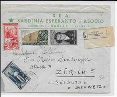 ESPERANTO - ITALIE - 1952 - ENVELOPPE RECOMMANDEE Avec PROPAGANDE ILLUSTREE De SASSARI => ZÜRICH - Esperanto