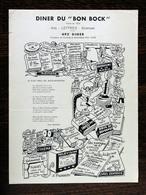 Diner Du Bon Bock N°492, Février 1957; Poésie -Émile Moussat, Illustr.-J.Pruvost - Menus