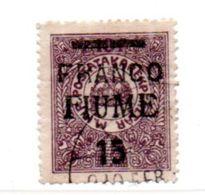 Fiume  / N 31 / 15 Sur 10 Violet /  Oblitéré - 8. WW I Occupation